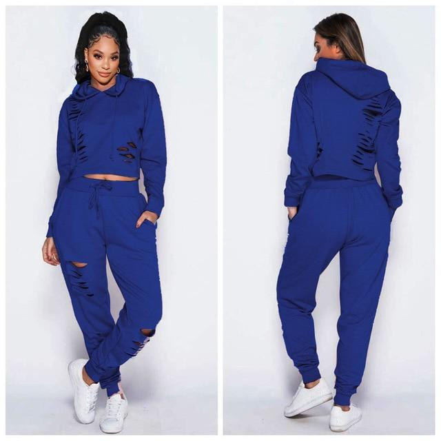 Agracei Trends blue / S Fashion Black Blue Ripped Sport Two Piece Pants Set Women Autumn Winter Hooded Sweatshirt + Jogger Black Blue Tracksuit Outfits