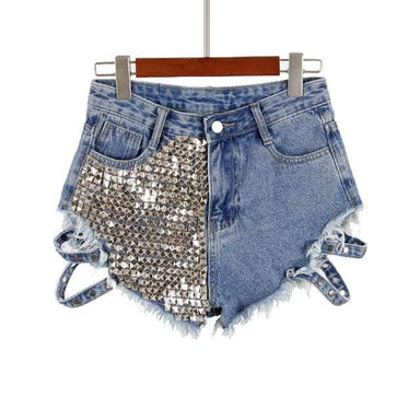 Agracei Trends Blue / S Sexy Women Rivet Denim Shorts hollow out 2020 New Summer Spring Women High Waist Jeans Shorts wide leg women hot shorts KZ77