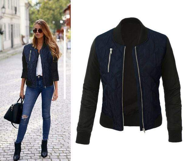 Agracei Trends Blue / S Spring Autumn Winter Fashion jacket women Long sleeve patchwork casual jacket Plus size 3XL