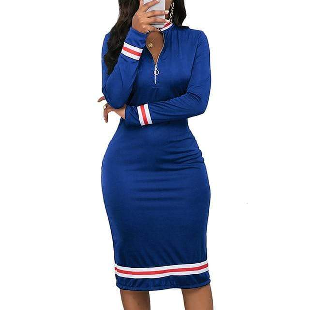 Agracei Trends Blue / XXL / China 2020 Spring Women Long Sleeve Sport Style Dress Silver Zipper Half Neck Stripe Color Matching Dress Stretch Bodycon D30