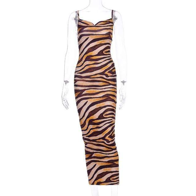 Agracei Trends Brown / S Multicolor Zebra Skin Print Summer Sexy Women Cami Long Dress Spaghetti Strap Sleeveless Party Slim Bodycon Dresses