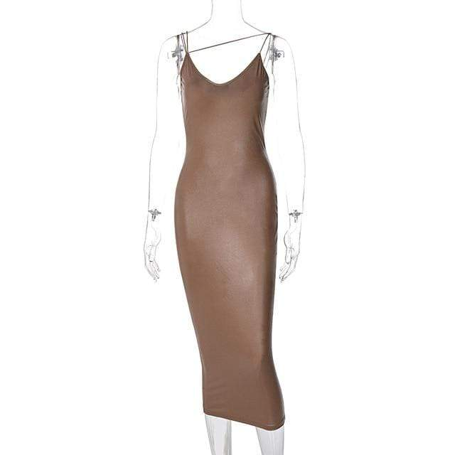 Agracei Trends Brown / S Pu Faux Leather Women Slit Midi Dress Strap V Neck Backless Bodycon Sexy Streetwear Party Elegant Autumn Winter Club