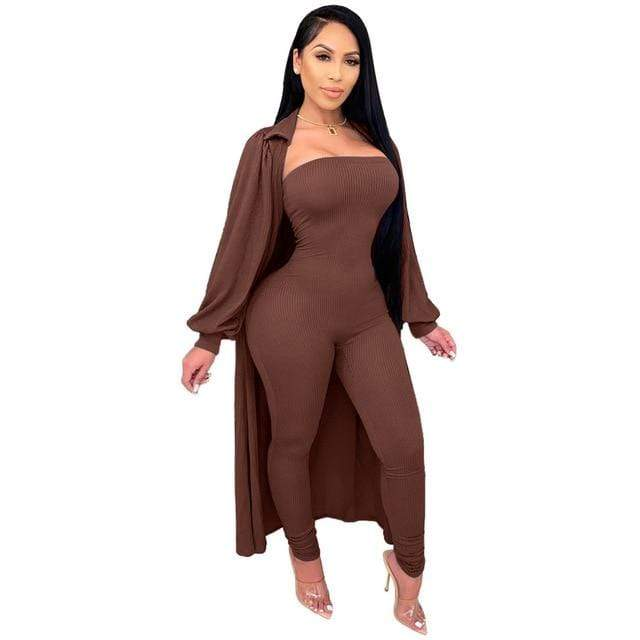 Agracei Trends Brown / XXL Knit Rib Lounge Wear Two Piece Set Fall Winter Clothes for Women Bodycon One Piece Jumpsuit and Cardigan Long Cover Coat Outfits