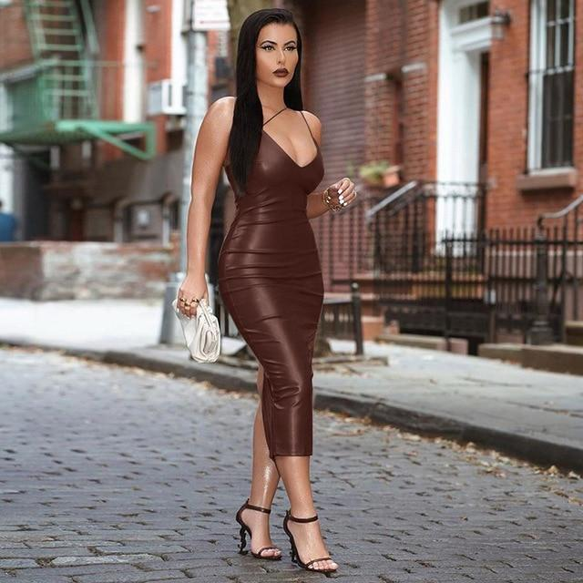 Agracei Trends Burgundy / L Pu Faux Leather Women Slit Midi Dress Strap V Neck Backless Bodycon Sexy Streetwear Party Elegant Autumn Winter Club