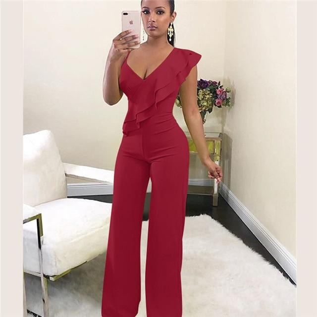 Agracei Trends Burgundy / L Summer Off shoulder women jumpsuit Elegant stylish jumpsuit Layered ruffles high waist jumpsuits Female overalls streetwear