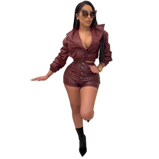 Agracei Trends Burgundy / M JRRY Women Tracksuits PU Leather Two Pieces Set Long Sleeve Top Short Pants Faux Leather 2 Pieces Set Fake Leather Outdoor Wear