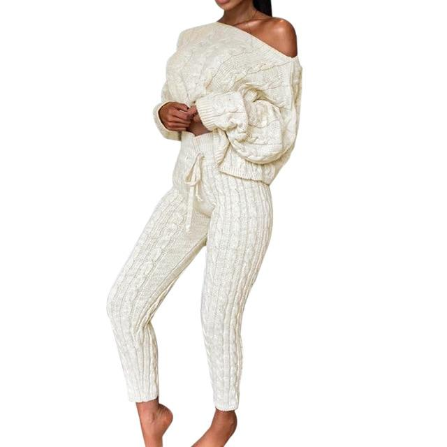 Agracei Trends C / S / United States 2020 New Womens Ladies Solid Off Shoulder Cable Knitted Warm Loungewear Set Autumn Sweater Women Sweater Winter Clothes Suit