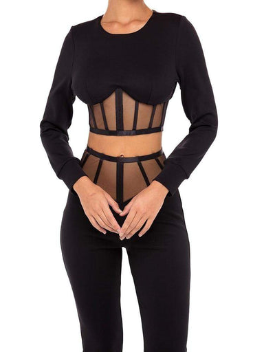 Agracei Trends Chic Black Two Pieces Suit Striped Design Mesh Patchwork Long Sleeves Celebrity Party Bandage Crop Tops Pants Suit