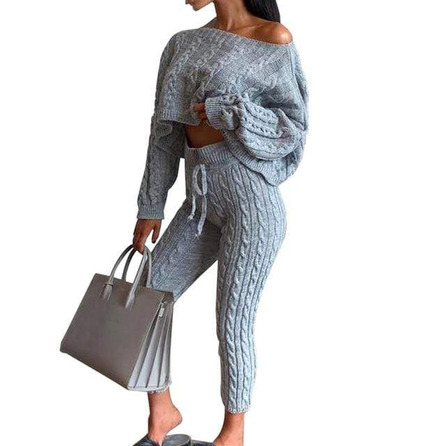 Agracei Trends D / S / United States 2020 New Womens Ladies Solid Off Shoulder Cable Knitted Warm Loungewear Set Autumn Sweater Women Sweater Winter Clothes Suit