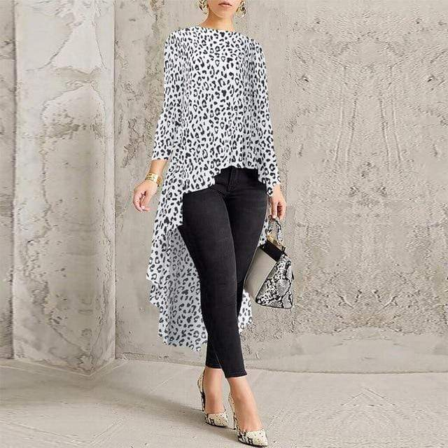 Agracei Trends D White Leopard / XXL Asymmetrical Tunic Tops Women's Blouse Spring Chemise 2020 ZANZEA Pleated Long Sleeve Shirt Female Swallowtail Blusas Oversized
