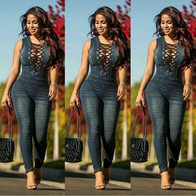 Agracei Trends Dark blue / XXL KALENMOS Plus Size Denim Rompers Jumpsuit Overalls Women New Skinny Jeans Sexy Blue Lace-up Hollow Sleeveless Bodycon Bodysuit