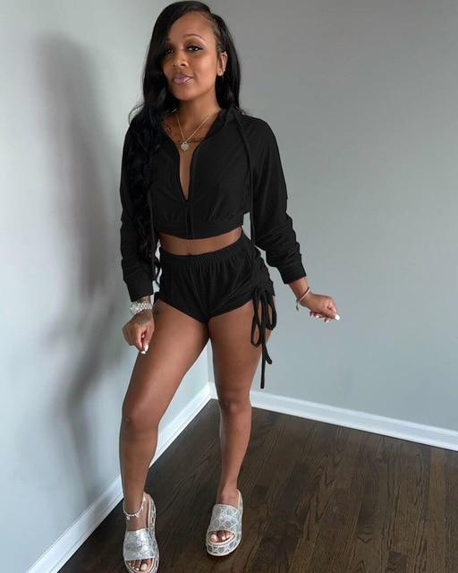Agracei Trends DN8518 Black / S Velvet Two Piece Set Women Rave Festival Clothing Full Sleeve Hooded Short Coat And  Elastic Waist Biker Short Velour Tracksuits