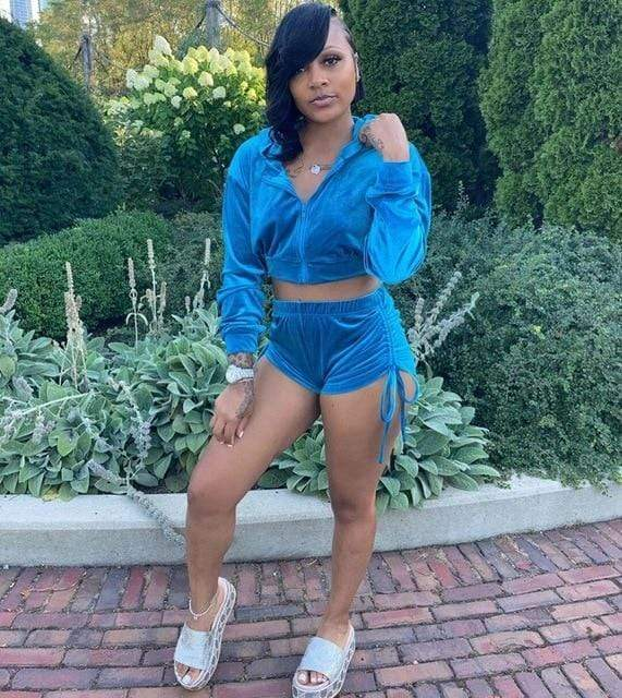 Agracei Trends DN8518 Blue / S Velvet Two Piece Set Women Rave Festival Clothing Full Sleeve Hooded Short Coat And  Elastic Waist Biker Short Velour Tracksuits