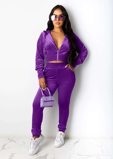 Agracei Trends DN8520 Purple / S Velvet Two Piece Set Women Rave Festival Clothing Full Sleeve Hooded Short Coat And  Elastic Waist Biker Short Velour Tracksuits