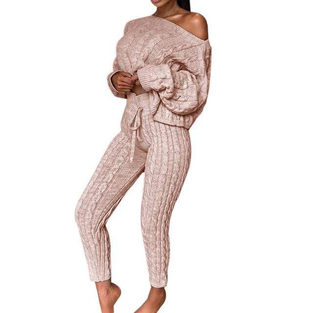 Agracei Trends E / L / United States 2020 New Womens Ladies Solid Off Shoulder Cable Knitted Warm Loungewear Set Autumn Sweater Women Sweater Winter Clothes Suit