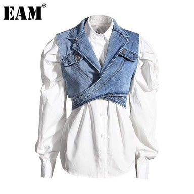 Agracei Trends [EAM] Women Blue Denim Irregular Blouse New Lapel Long Puff Sleeve Loose Fit Shirt Fashion Tide Spring Autumn 2021 1Z595