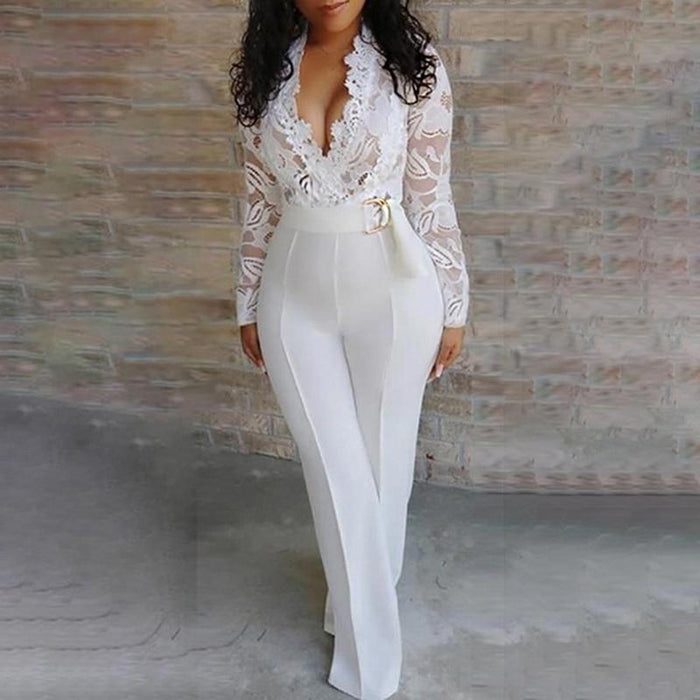 Agracei Trends Elegant Lace Rompers Womens Summer Jumpsuit Solid Color Sexy Ladies Casual Long Trousers Overalls White Jumpsuit Office Lady