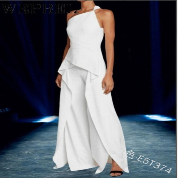 Agracei Trends Elegant Sleeveless One Shoulder Ruffles Long Dress Women Summer Fashion Irregular Dress Plus Size S-5XL