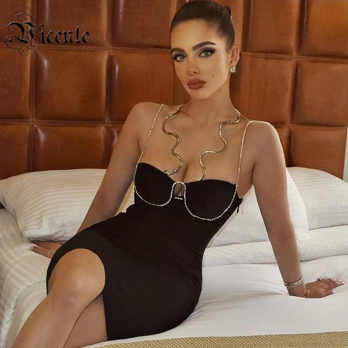 Agracei Trends ew Trendy Beads Chain Design Mini Dress Sexy Sleeveless Backless Celebrity Party Bandage Slip Dress