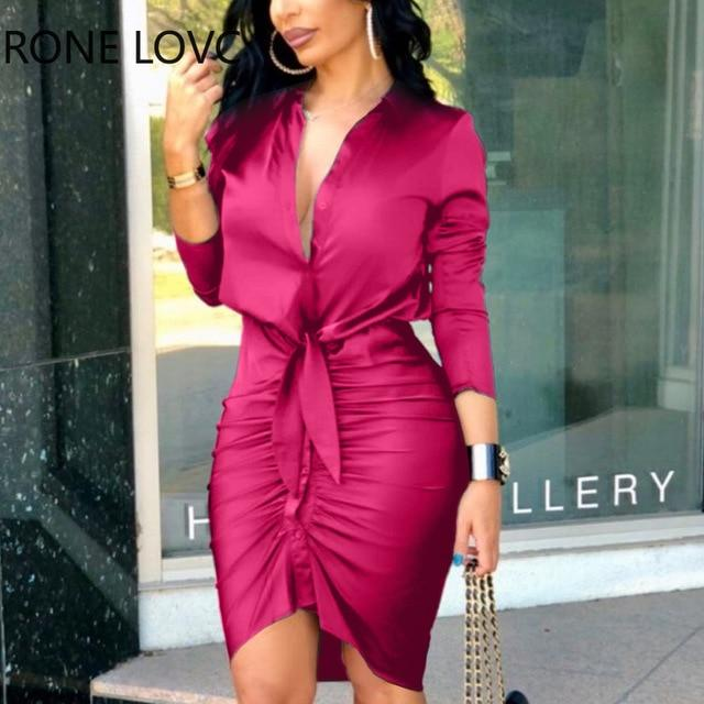 Agracei Trends Fuchsia / XL Lace-up Solid Color Long Sleeve Midi Dress  Shirt Dress Elegant Fashion Party Dress