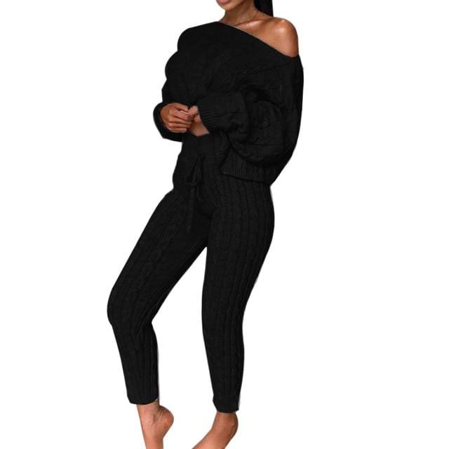 Agracei Trends G / S / United States 2020 New Womens Ladies Solid Off Shoulder Cable Knitted Warm Loungewear Set Autumn Sweater Women Sweater Winter Clothes Suit