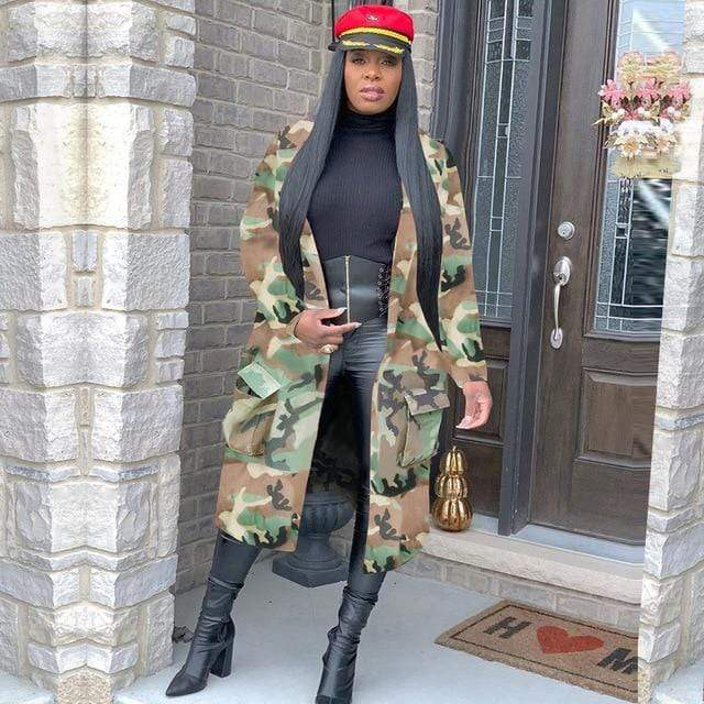 Agracei Trends Green / S Plus Size Camouflage Camo Jacket Coat Women 2020 Oversized Cardigan Pockets Military Streetwear Casual Outerwear Chaqueta Mujer