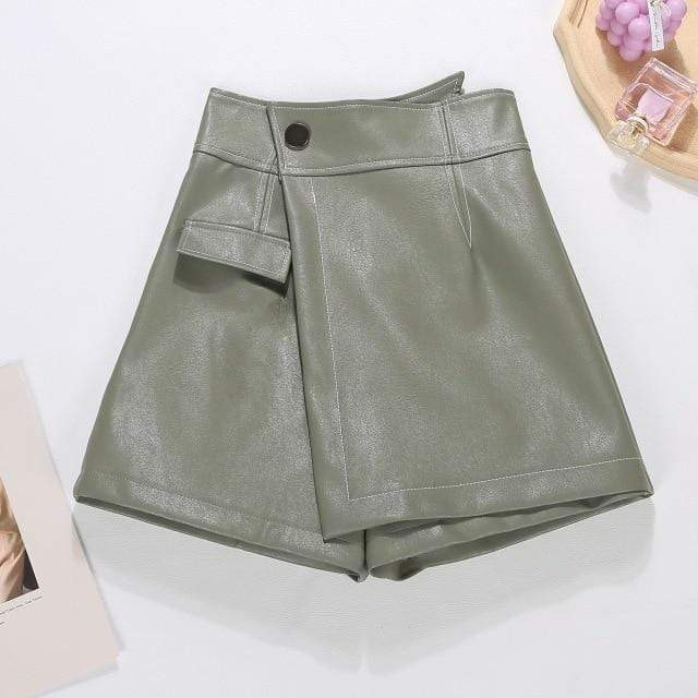 Agracei Trends green / XL 2020 New PU Leather Shorts Women Shorts All-match Sashes Wide Leg Short Ladies Sexy Leather Shorts Autumn Winter