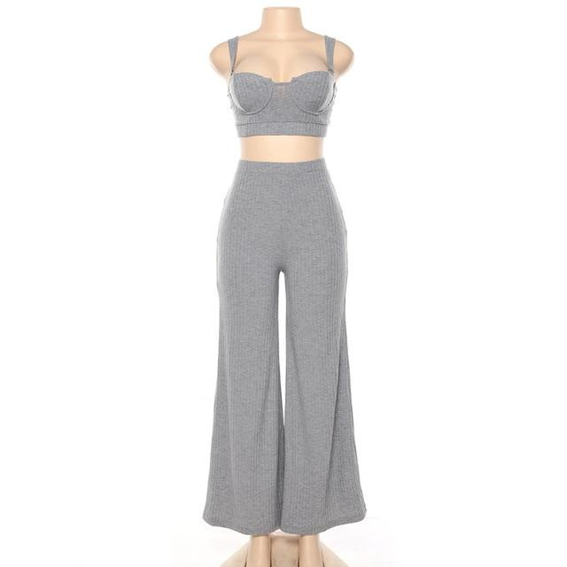 Agracei Trends Grey / L 2020 Summer Women Sexy Dance 2 Two Piece Set Outfits Knitted Crop Top Tshirt And Wig Leg Pants Trousers Set Bodycon Tracksuit