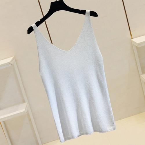 Agracei Trends grey white / One Size Summer New Fashion Camisole Tanks T Shirts Women Heavy-duty Ironing and Drilling Knitting Tops