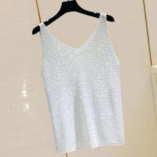 Agracei Trends grey white whole / One Size Summer New Fashion Camisole Tanks T Shirts Women Heavy-duty Ironing and Drilling Knitting Tops