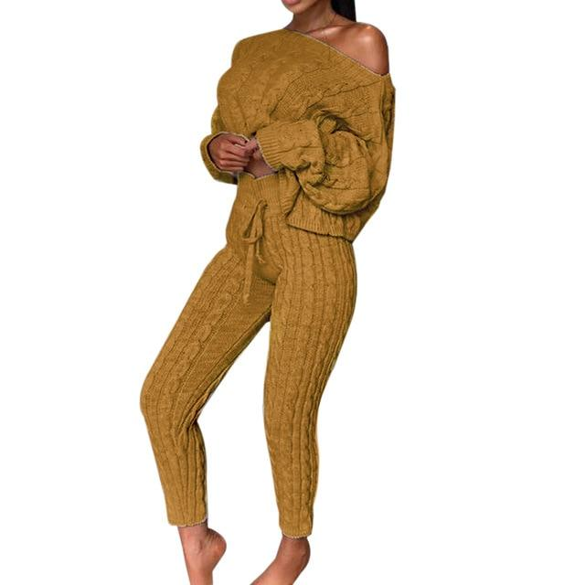 Agracei Trends H / S / United States 2020 New Womens Ladies Solid Off Shoulder Cable Knitted Warm Loungewear Set Autumn Sweater Women Sweater Winter Clothes Suit