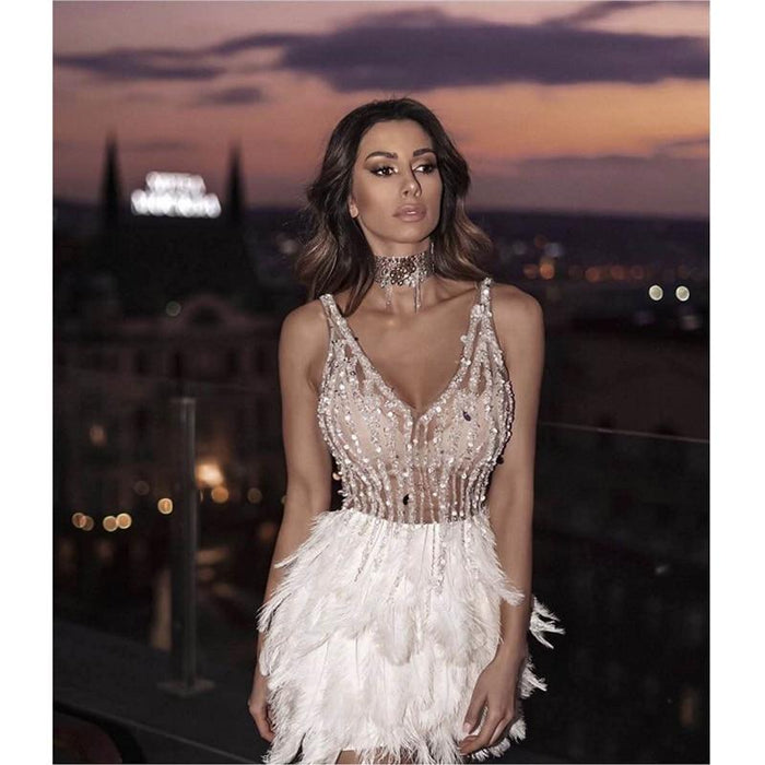 Agracei Trends High Quality Celebrity Party Bandage Dress Sexy V Neck Sleeves Sequins Dress Luxury Feathers Party Dress Pink White Mini Dress