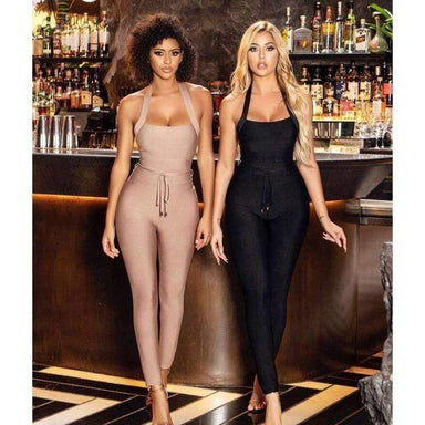 Agracei Trends High Quality Nude Black Halter Bandage Jumpsuit Rayon Elegant Celebrity Woman Party Wear Vintage Bodycon Romper Long Pants