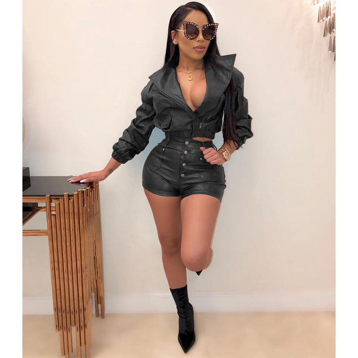 Agracei Trends JRRY Women Tracksuits PU Leather Two Pieces Set Long Sleeve Top Short Pants Faux Leather 2 Pieces Set Fake Leather Outdoor Wear