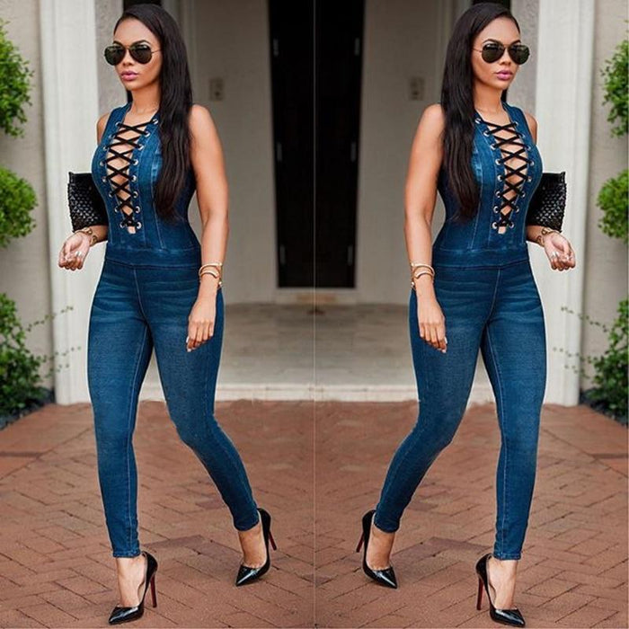 Agracei Trends KALENMOS Plus Size Denim Rompers Jumpsuit Overalls Women New Skinny Jeans Sexy Blue Lace-up Hollow Sleeveless Bodycon Bodysuit