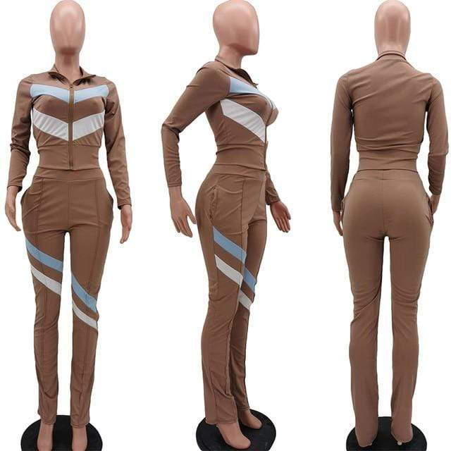 Agracei Trends Khaki / XXL HAOYUAN Striped Two Piece Set Jumpsuit Long Sleeve Zipper Top+Stacked Leggings Set Casual Tracksuit Fall Women Clothing  Outfits