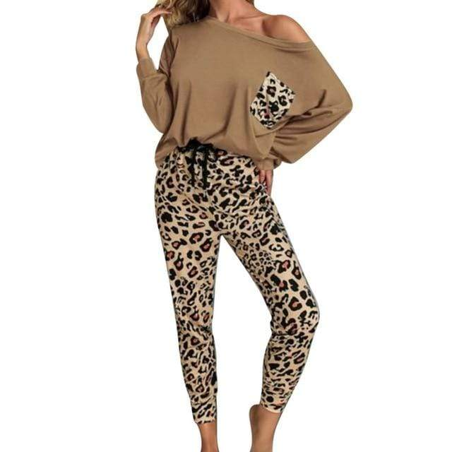 Agracei Trends khaki / XXL / United States Leopard Homewear Suits Women Autumn Casual T Shirts Drawstring Sweatpants Lounge Wear Fashion Pajama Sets Elastic Sleepwear