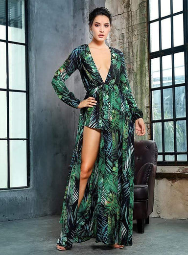 Agracei Trends Leaf Printing Deep V-Neck Chiffon Long-Sleeved Playsuit