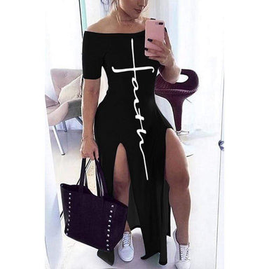 Agracei Trends Letter Pattern Off Shoulder Split Maxi Dress Women  Short Sleeve Sheath Casual Fashion b Long Dresses