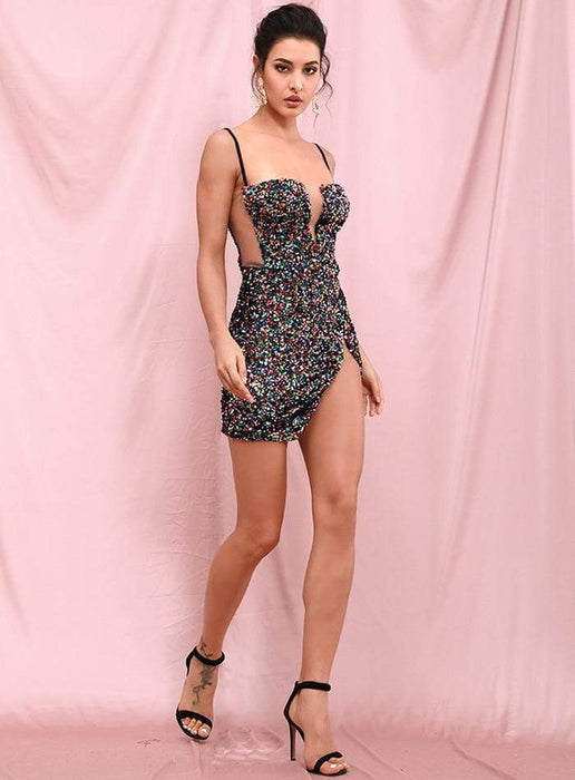 Agracei Trends LOVE & LEMONADE Sexy Tube Top Black Cut Out Stretch Sequin Bodycon Party Mini Dress LM82289
