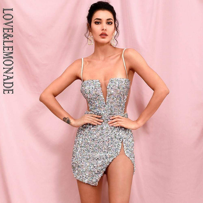 Agracei Trends LOVE & LEMONADE Sexy Tube Top Silver Cut Out Stretch Sequin Bodycon Party Mini Dress LM82289