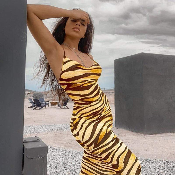 Agracei Trends Multicolor Zebra Skin Print Summer Sexy Women Cami Long Dress Spaghetti Strap Sleeveless Party Slim Bodycon Dresses