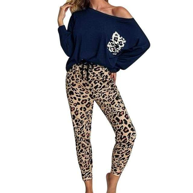 Agracei Trends navy / L / United States Leopard Homewear Suits Women Autumn Casual T Shirts Drawstring Sweatpants Lounge Wear Fashion Pajama Sets Elastic Sleepwear