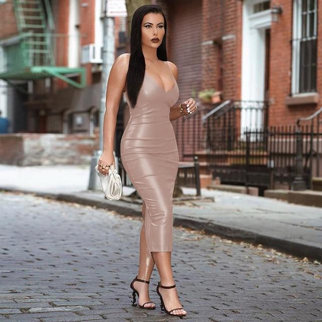 Agracei Trends Nude / S Pu Faux Leather Women Slit Midi Dress Strap V Neck Backless Bodycon Sexy Streetwear Party Elegant Autumn Winter Club