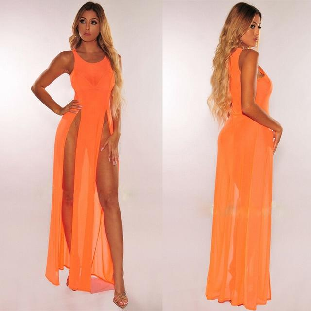 Agracei Trends Orange / L Women's Bikini Swimsuit Cover up Silk Summer Beach Wear Mesh Sheer Long Dress Summer Bathing Suit Holiday Hot One Piece