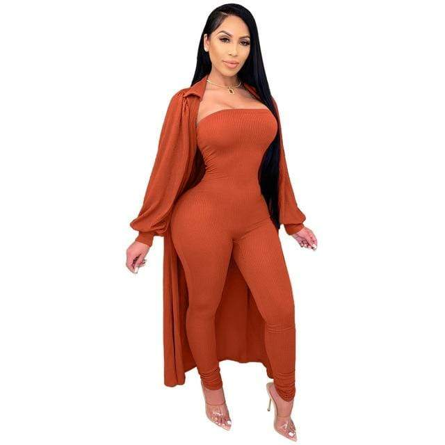 Agracei Trends Orange / M Knit Rib Lounge Wear Two Piece Set Fall Winter Clothes for Women Bodycon One Piece Jumpsuit and Cardigan Long Cover Coat Outfits