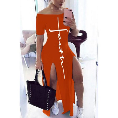 Agracei Trends Orange / M Letter Pattern Off Shoulder Split Maxi Dress Women  Short Sleeve Sheath Casual Fashion b Long Dresses