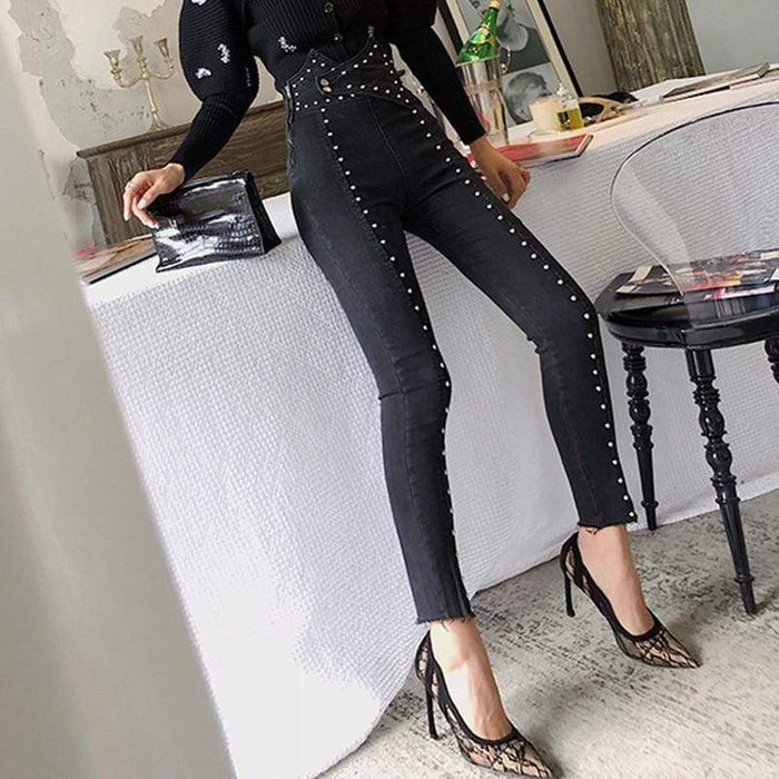 Agracei Trends Patchwork Beading Women's Jeans High Waist Slim Denim Ankle Length Pants Female Streetwear Fashion New