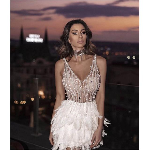 Agracei Trends Pink / L / 176 High Quality Celebrity Party Bandage Dress Sexy V Neck Sleeves Sequins Dress Luxury Feathers Party Dress Pink White Mini Dress