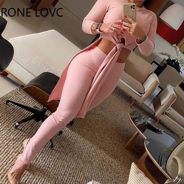 Agracei Trends Pink / L Women Sexy Solid Knotted O-Neck Long Sleeves Top & High Waist Pants Set 2 Piece Set Women